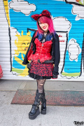 Lisa's Pink & Blue Hair, Bustier & Demonia Boots in Harajuku