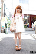 White Sundress Over Pink T-shirt With Twin Ponytails in Harajuku