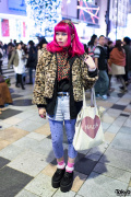Pink Hair, Leopard Coat, Cherry Headscarf & Creepers in Harajuku