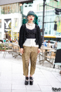 Blue-Green Braids, Corset Top, Gold Pants, Chanel & Jeffrey Campbell Spikes