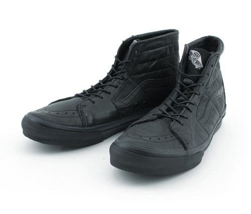 all black vans leather