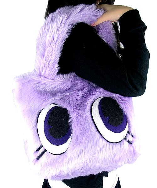 Candy Stripper Eye Ball Monster Fur Bag