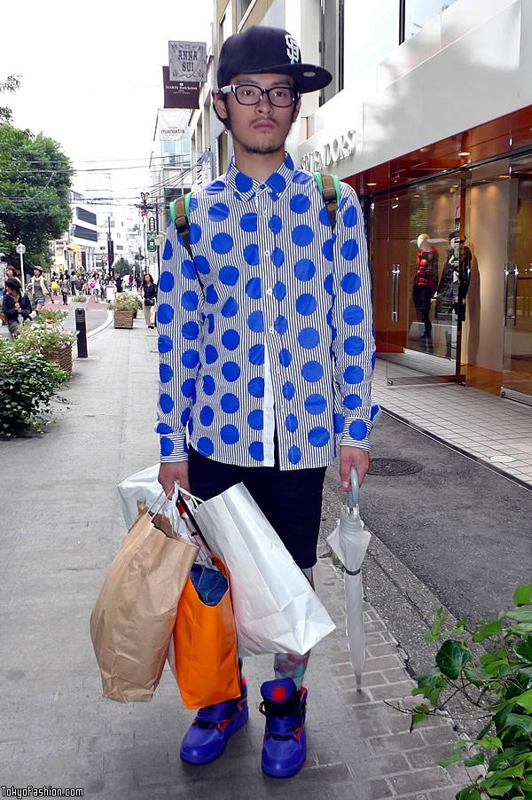 Cool Polka Dot Shirt in Harajuku