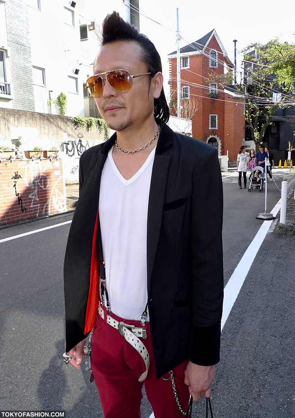 Pompadour Hairstyle & Red Pants in Harajuku