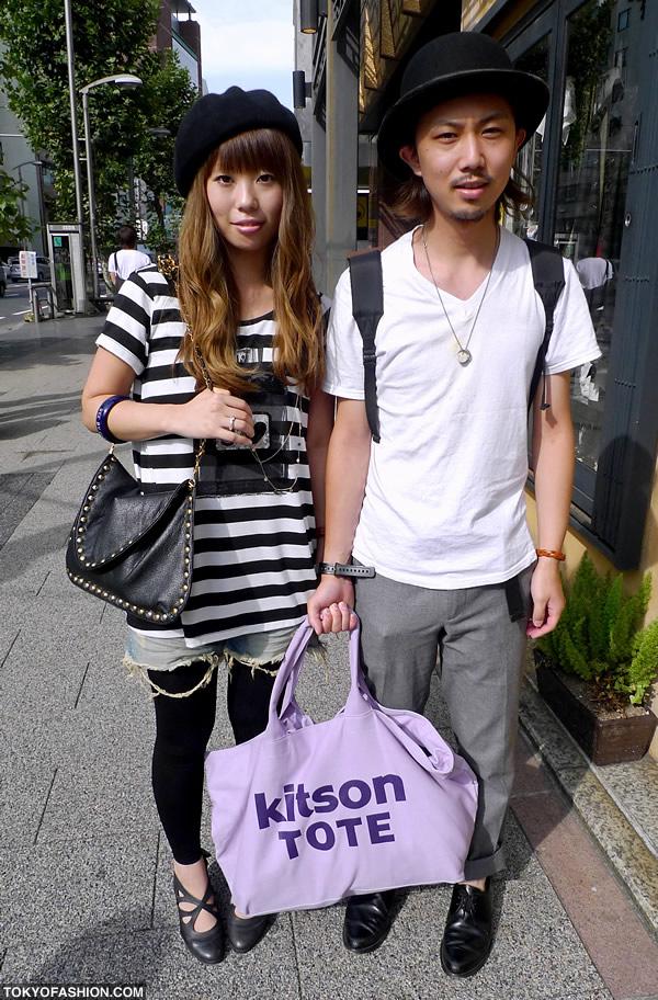 Kitson Tote & Two Black Hats in Shibuya