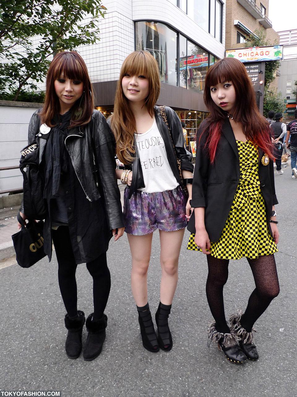 Three Japanese Girls With Cool Hair Makeup Tokyo Fashion