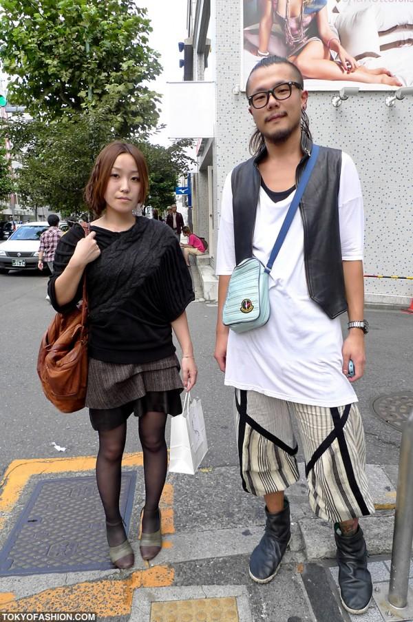 Knit Sweater & Moncler Bag in Harajuku