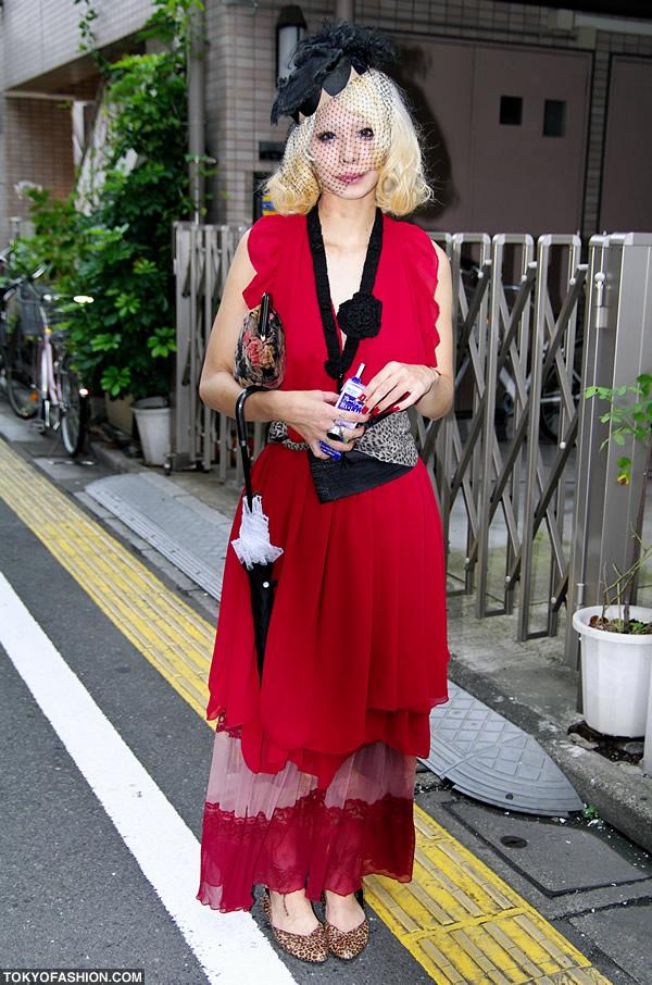 Blonde Japanese Girl in Pillbox Hat & Veil