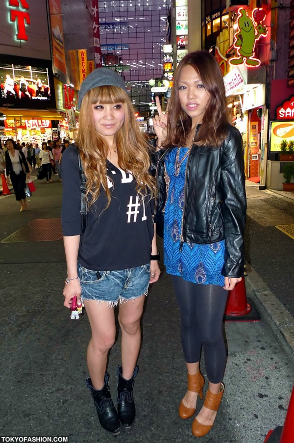 Cut Off Shorts & Leather Jacket Shibuya Gals