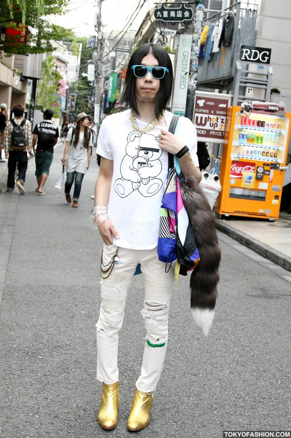Gold Boots & Fur Tail in Harajuku