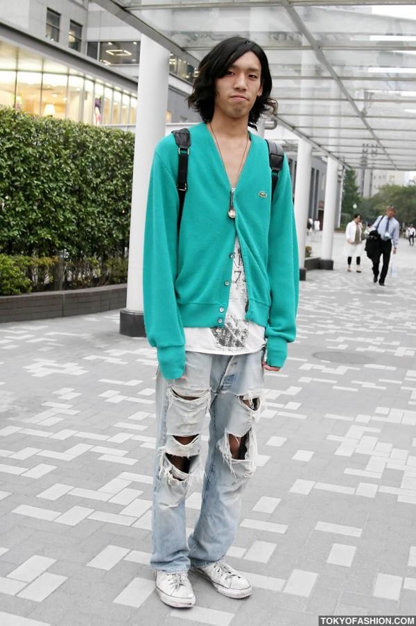 Torn Jeans & Lacoste Sweater in Shinjuku