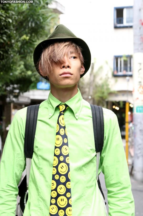 Harajuku Guy in Green Fedora