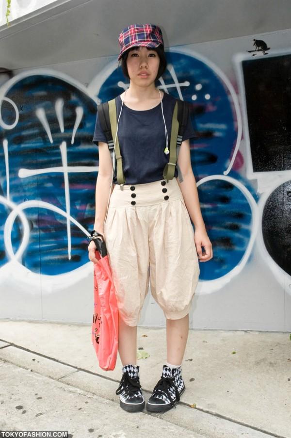 Baggy Shorts & Suspenders Girl in Shibuya