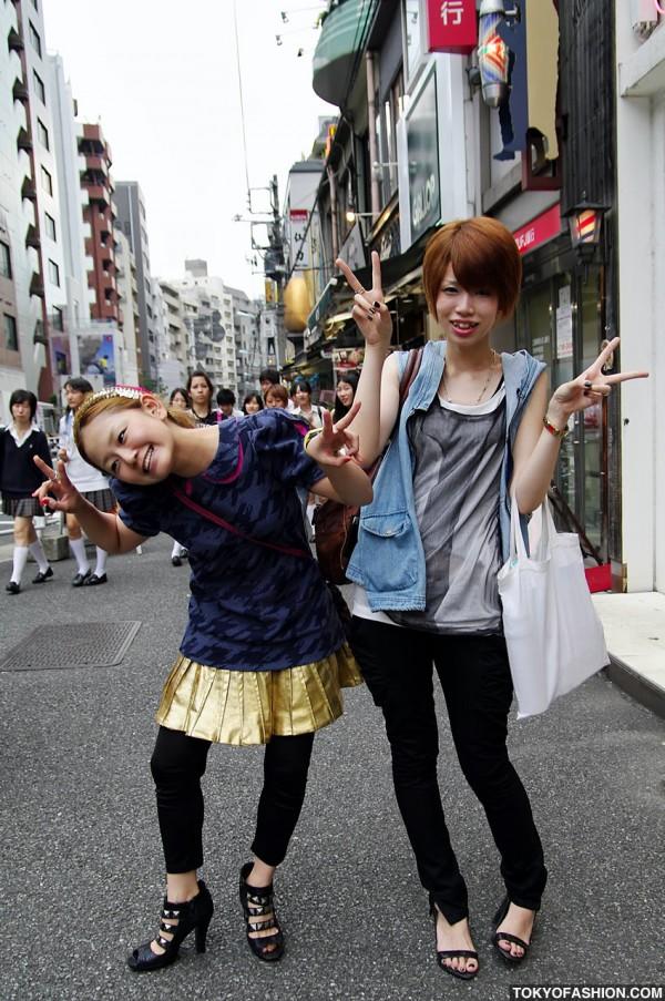 Gold Skirt & Funny Girls in Shibuya
