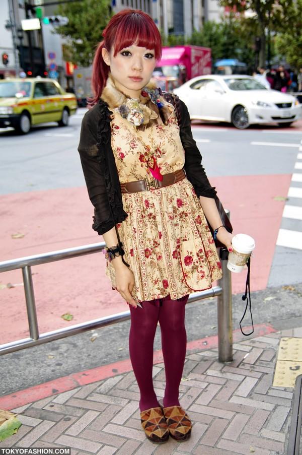 Stylish Japanese Girl With Red Hair in Shibuya