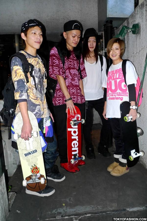 Four Japanese Skaters In Harajuku
