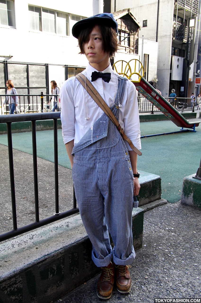 Guys Overalls Fashion Bow Tie Overalls Guy in