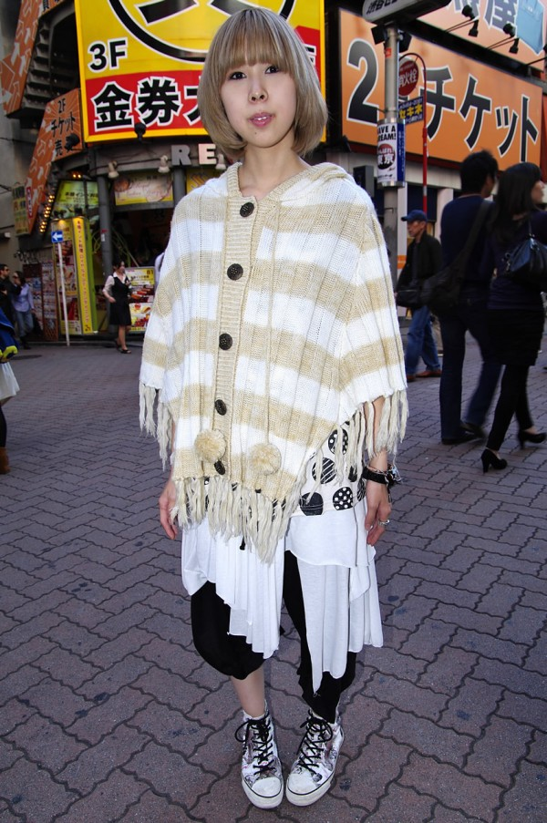 Blonde Japanese Girl in Hooded Knit Parka