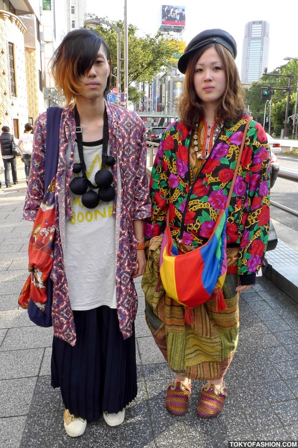 Colorful Shibuya Girl & Guy, Both in Skirts