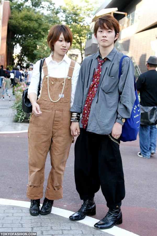 Bib Overalls & Black Boots in Harajuku