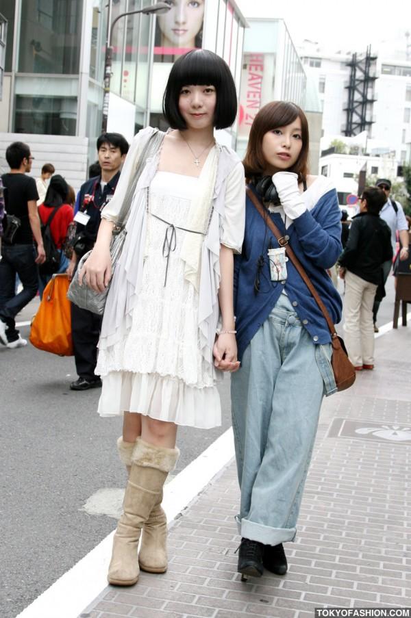 Bob Haircut & Wide Leg Jeans in Harajuku