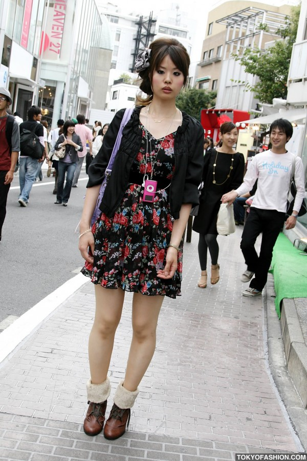 Flower Dress & Love Necklace in Harajuku