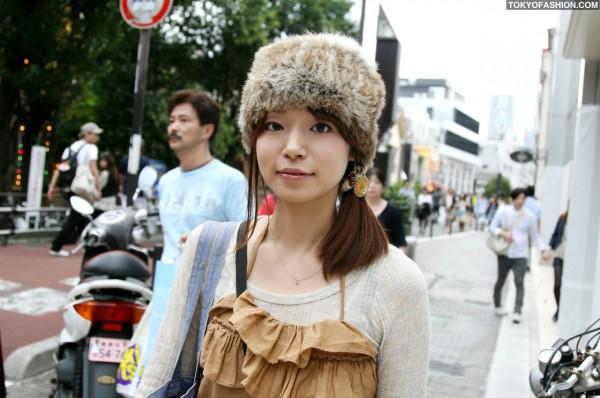 Cute Fur Hat in Harajuku