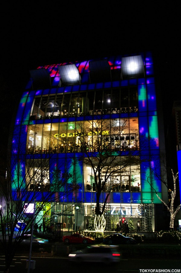 Tokyo Building Lighted Merry XMas
