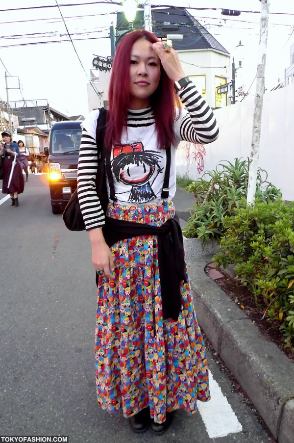Colorful Long Skirt on a red haired Japanese girl