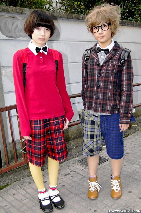 Cute Plaid Shorts & Bow Tie Girls in Harajuku