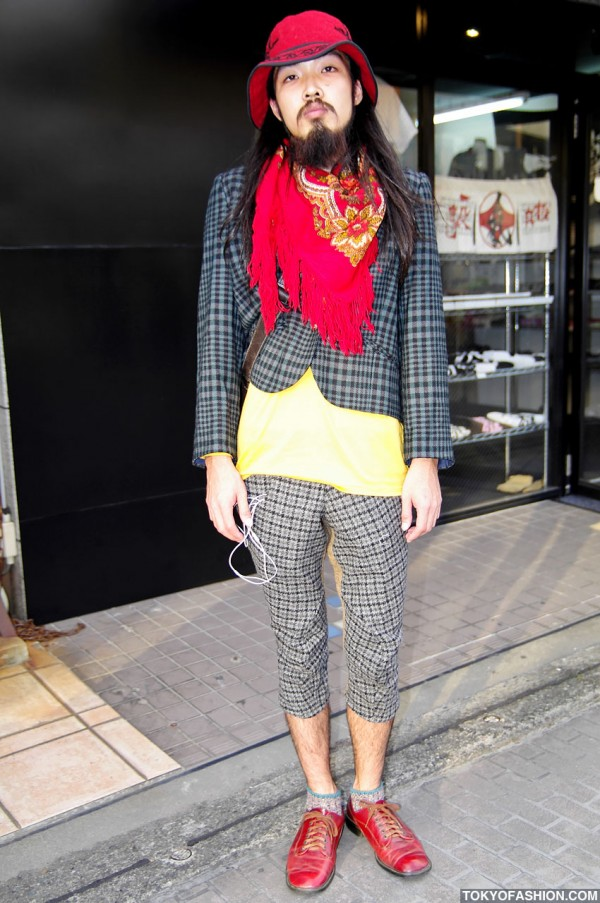 Cropped Tartan Suit & Red Shoes in Harajuku