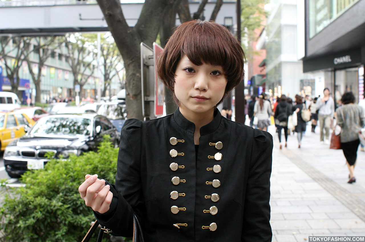 Japanese Girl In Cool Black Military Jacket