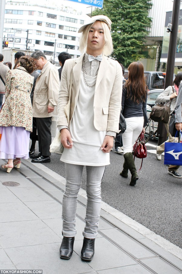 Bow Tie, White Hat & White Hair in Harajuku