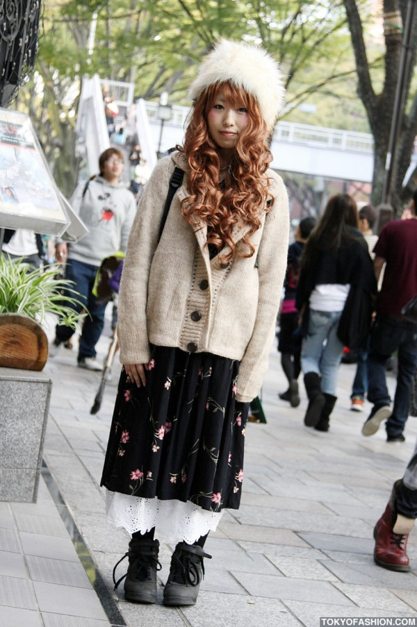 Oversized Cardigan & Pretty Red Hair in Harajuku