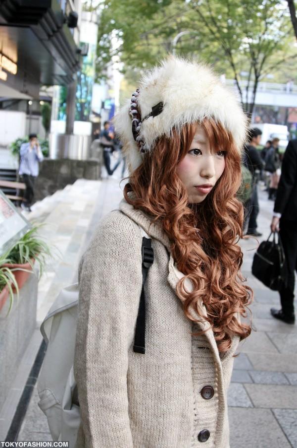Girl in Fur Hat in Harajuku