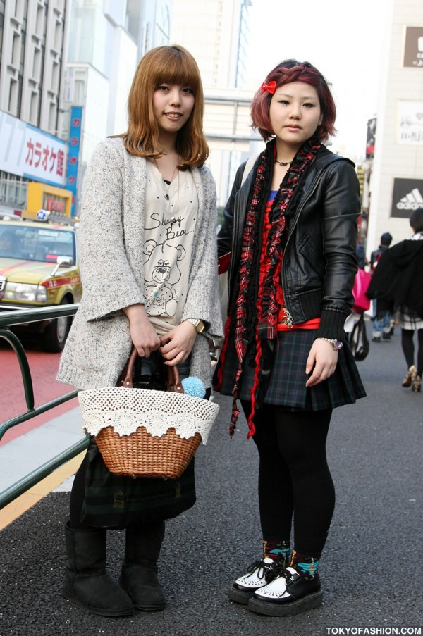 Red Hair, Leather Bomber & Pleated Skirt in Harajuku