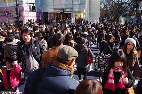 Crossing Meiji Dori Toward Gap Harajuku