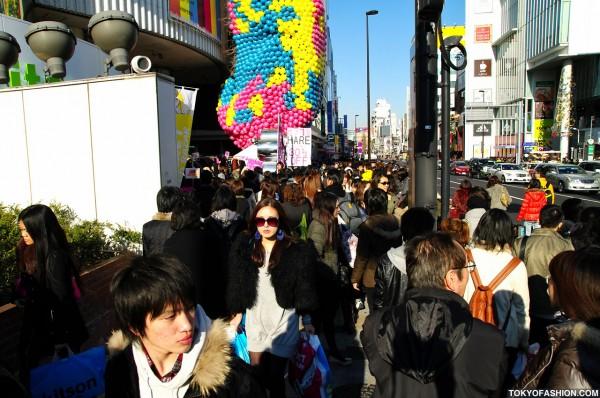 Crowded Sidewalk in Harajuku
