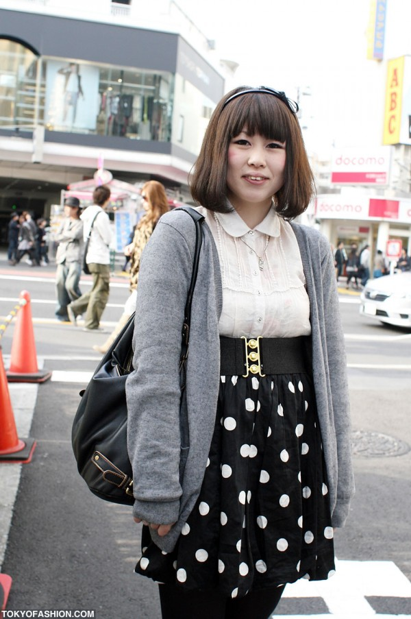 Japanese Girl in Polka Dot Skirt