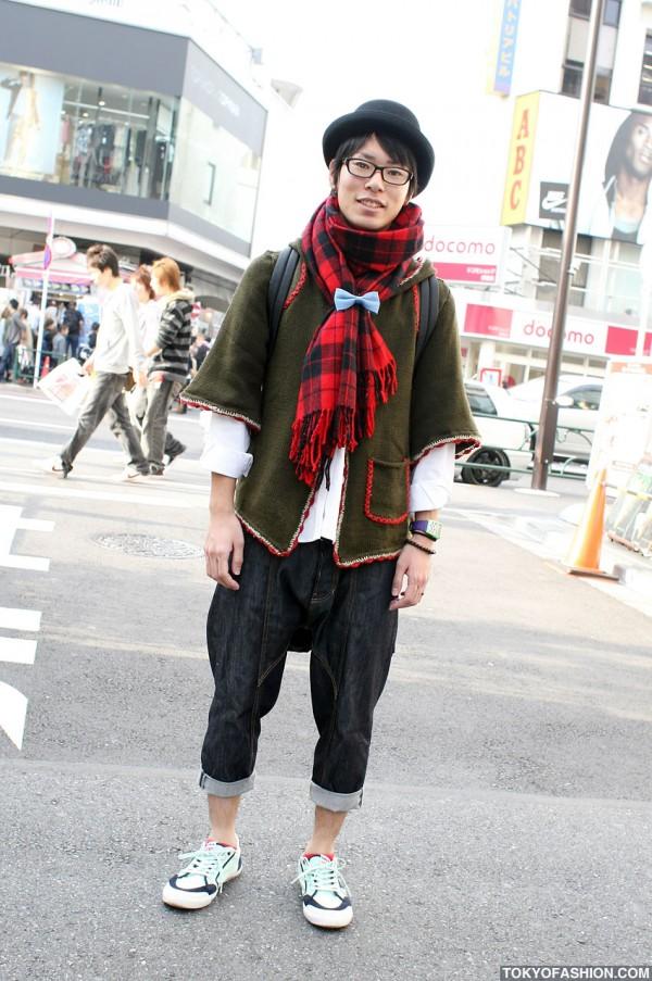 Ne-Net Cropped Pants & Cute Blue Bow in Harajuku