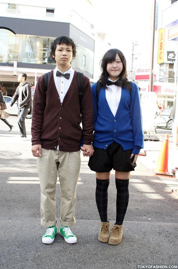 Cute Japanese Pair Look Couple in Harajuku