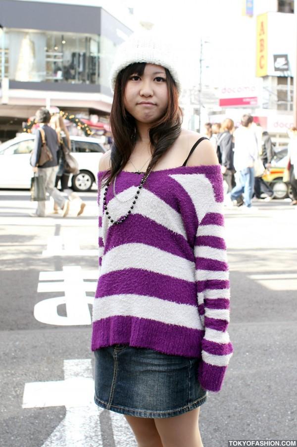 Striped Sweater Japanese Girl