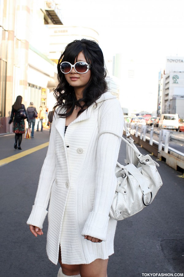 White Knit Sweater in Tokyo