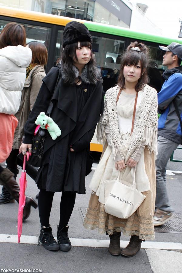 Japanese Girls in Black vs. White Fashion in Harajuku