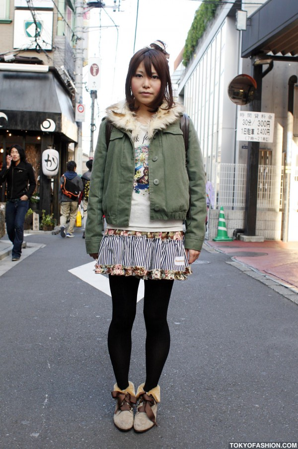 Ruffled Skirt & Fur Ankle Boots in Harajuku
