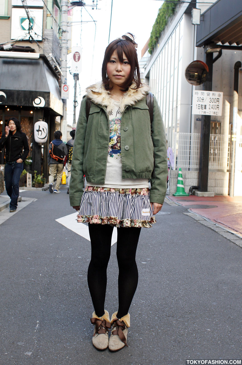 Ruffled Skirt Amp Fur Ankle Boots In Harajuku