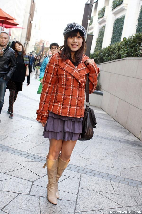 Orange Coat in Harajuku