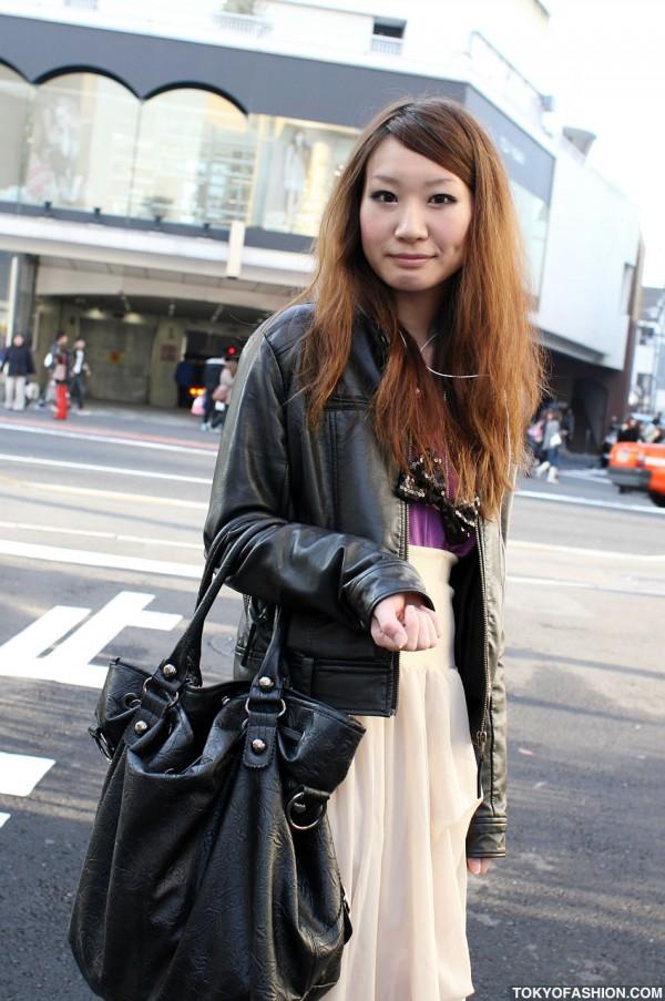 Leather Jacket & Black Handbag