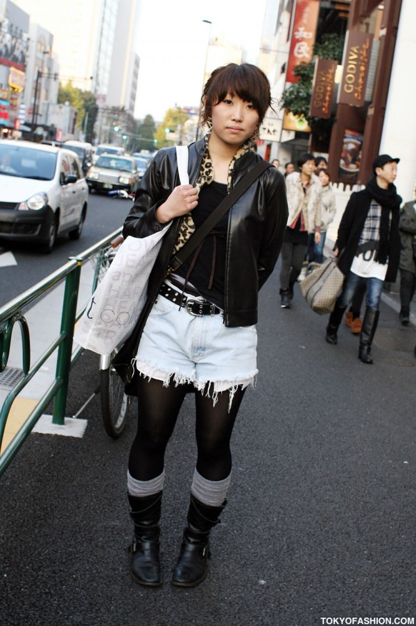 Japanese Girl in Cut Off Jeans Shorts