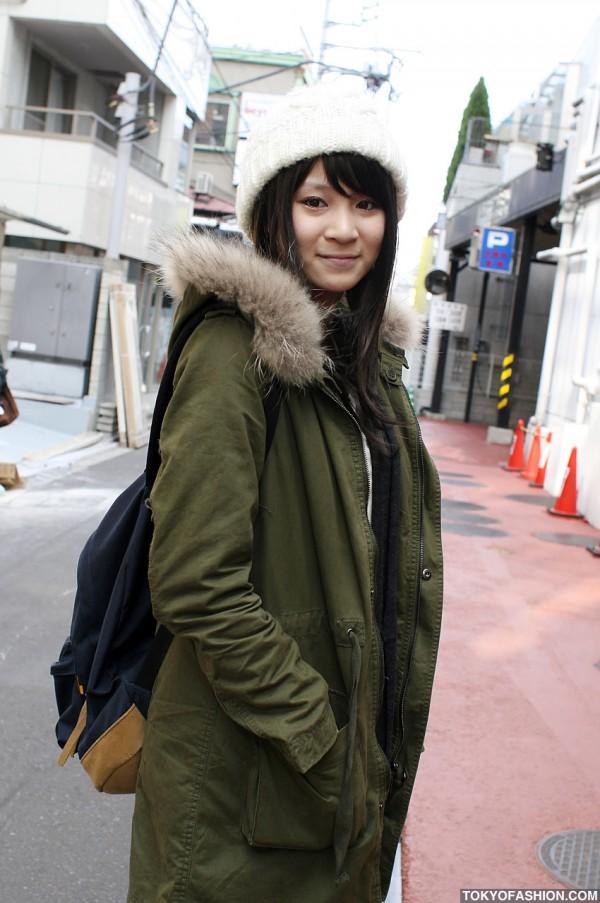 Girl in White Beanie in Harajuku